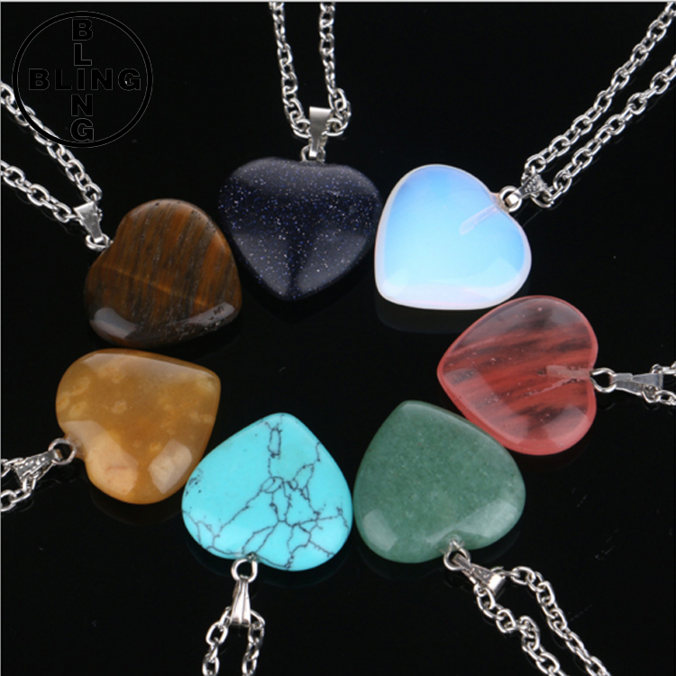 >>>The new heart shaped stone pendant necklace turquoise necklace crystal heart natural stone necklace