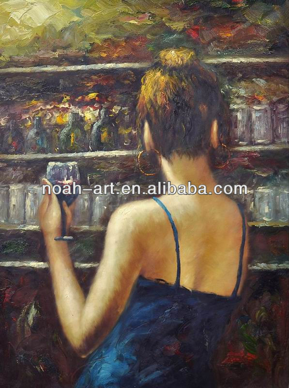Impressional Lady in Bar Paintings