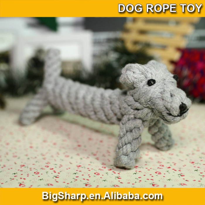 wholesale high quality comfortable cute cotton rope knitted dog sharp chew dog rope toy DRT-014