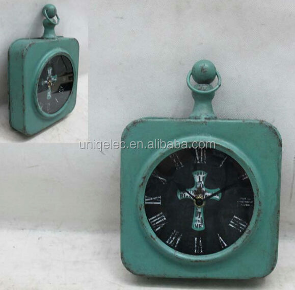Square Antique Decorative Metal Art Gift Table Clock