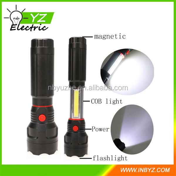 2 In 1 Portable Zoom LED Flashlight Camping torch Lamp Aluminum alloy Waterproof Lanterna Built In Magnet By 4*AAA