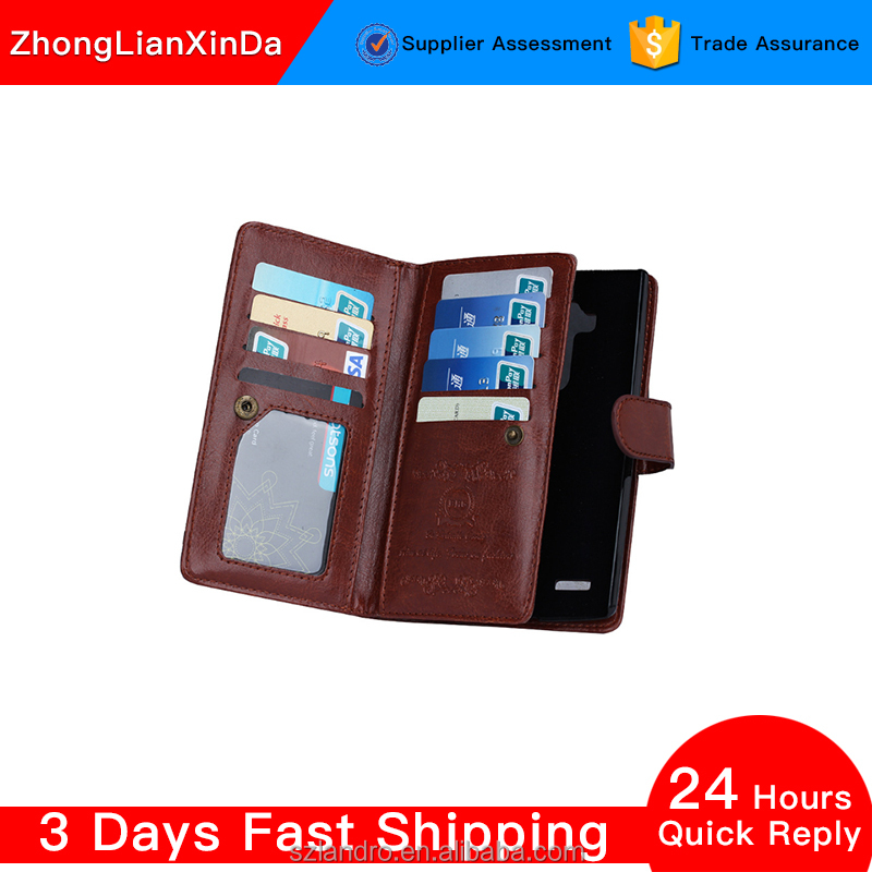 PU Leather Classic Design & Ultra-Strong Magnetic Closur for LG G3 Wallet Phone case