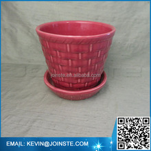 Ceramic planter with attached base Basket weave / small vintage planter