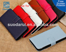 Hot Lichee Leather Wallet Cover for iPhone 5c case Mix color