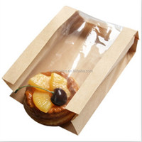 Brown craft bread grocery paper bag with window