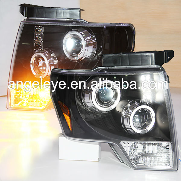 2008-2012 Year FORD F150 Raptor LED Angel Eyes Head Lamp Black Housing JY