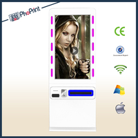 42 inch slant touch screen public places led advertising photo printer kiosk/photo booth machine/online photo editing