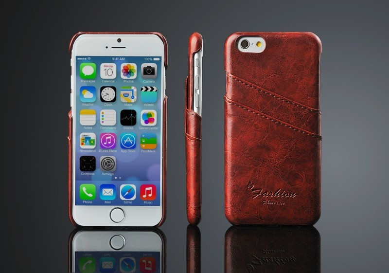 Alibaba factory price Genuine leather phone case for iphone 6 7 7 plus Real leather back cover case with Two card slots