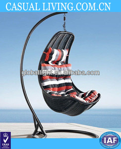 Comfortable Egg-shaped Rattan Outdoor Swing Chair- Striped