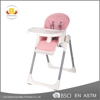 2017 the best hot selling baby high chair with en certificate, PU fabric comfortable baby feeding chair