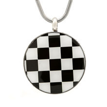 Neclace Jewelry New Design Stainless Steel Black and White Enameled 30mm Aromatherapy Diffuser Jewelry Pendant