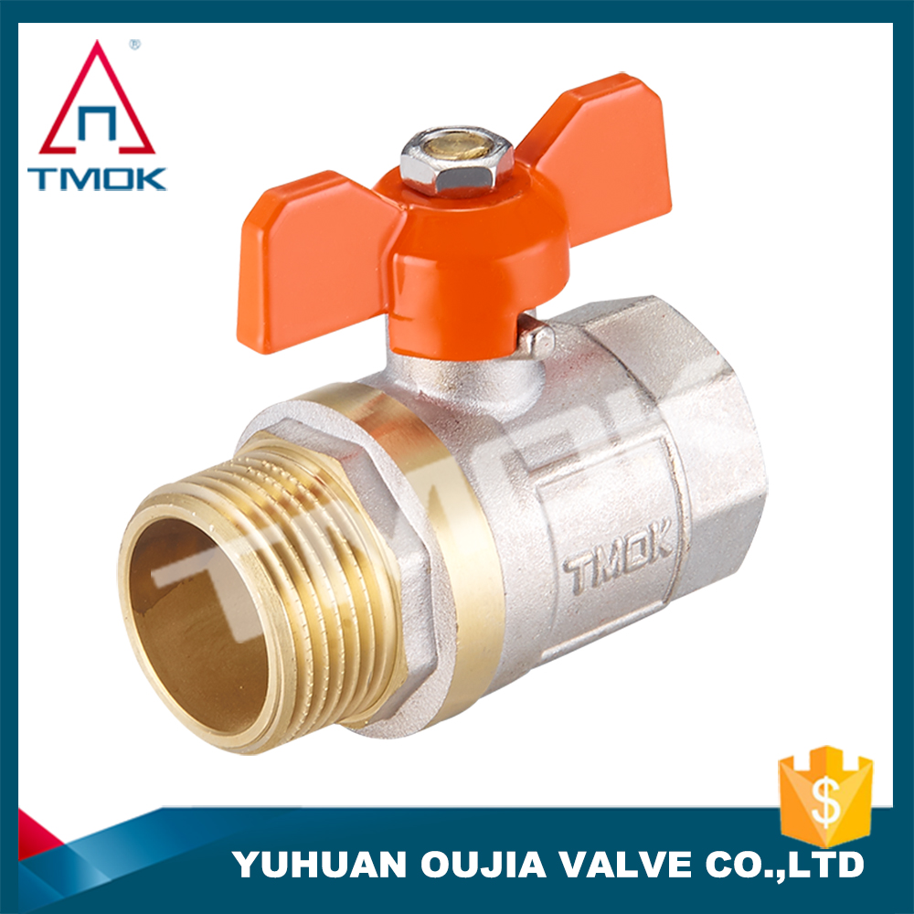 TMOK TK-5006 Female and male dzr brass ball valve Full bore Butterfly aluminum handle CE approved water valve