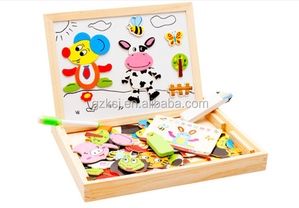 Promotional children wood magnetic drawing board and jigsaw puzzle game board