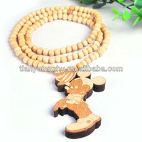 FASHION WHOLESALE MICKEY MOUSE GOOD CUSTOM WOOD HIP HOP PENDANT NECKLACE FOR MEN