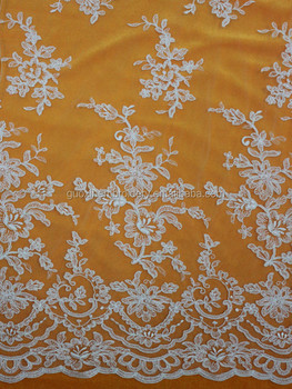 Ivory Rayon mesh embroidery lace fabric factory