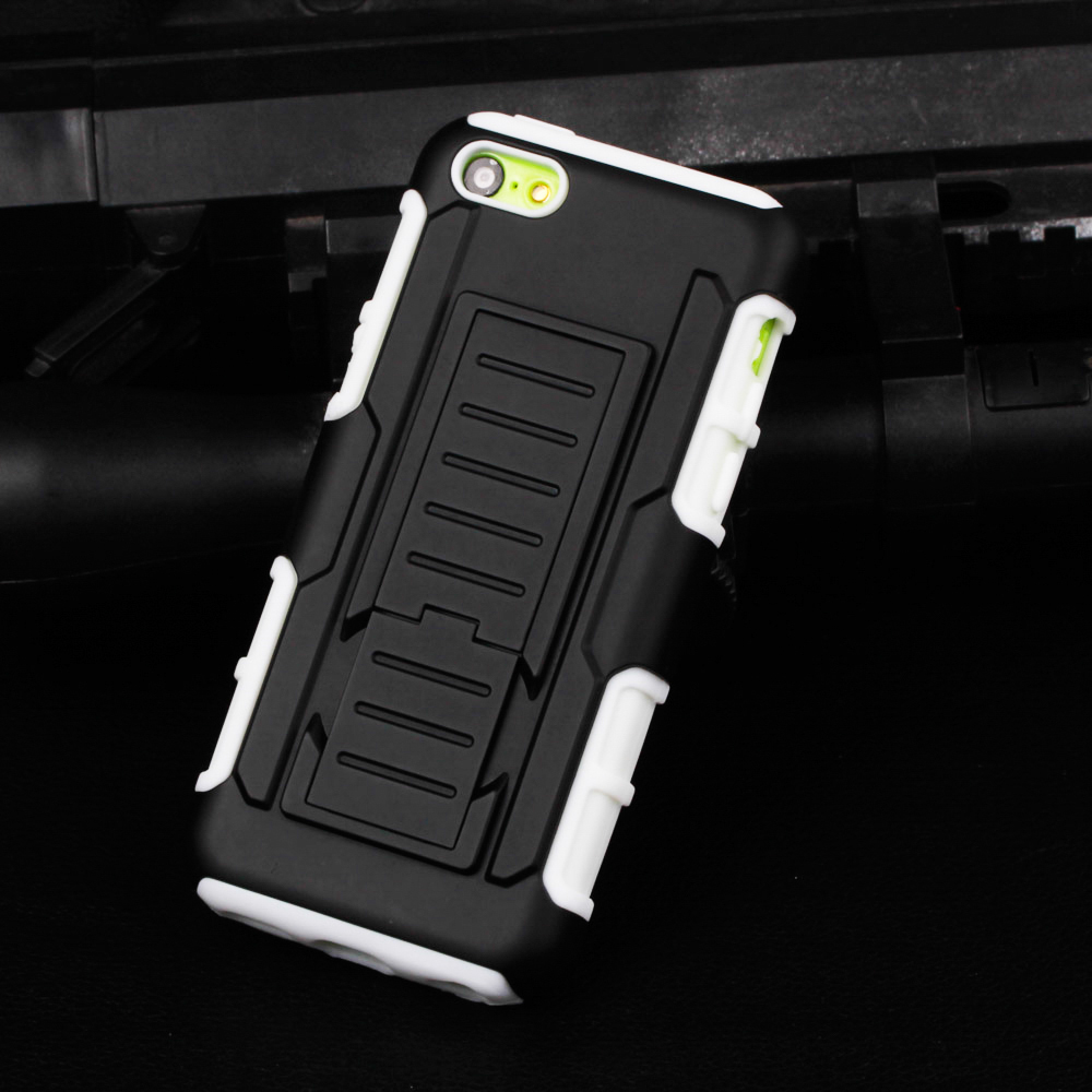 Hybrid Armor Kickstand Military Styls Hard Case for iPhone 5C Cover Belt Clip Mobile Phone Bags Shell