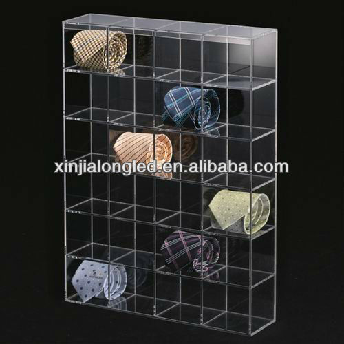 Wall Mounted Acrylic Tie Display Case With Compartments Acrylic Necktie Display Rack With Dividers