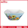 Sunflower full print plastic square shape melamine salad bowl/snack bowl
