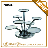 Wholesale 7 Tiered Stainless Steel Detachable Pop Metal Revolving Wedding Cake Stand