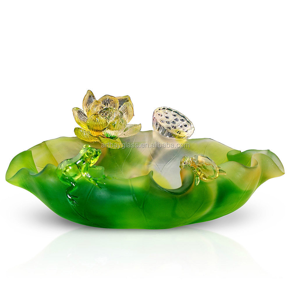 ARTBAY decorative lead crystal colored glass bowl with flower and frog
