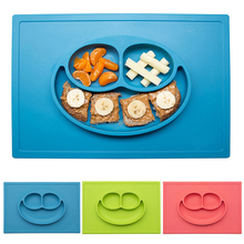 FDA/FLGB non-stick portable one piece baby silicone placemat plate for kids