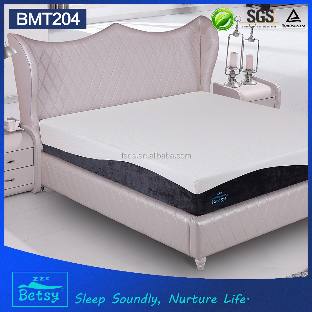 OEM durable roll up king size mattress 25cm high with gel memory foam and knitted fabric cover