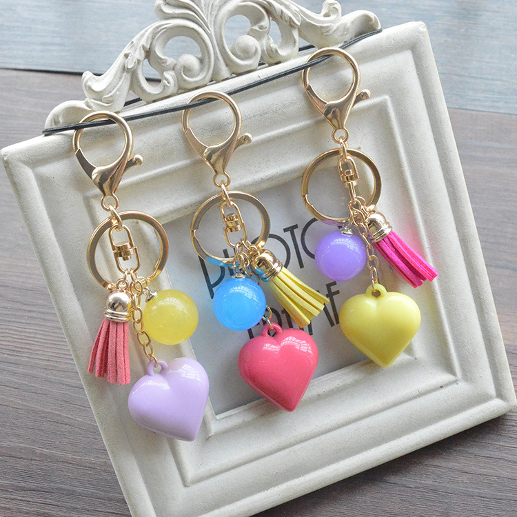 Wholesale Cute Alloy Colors Tassel Heart Car Pendant Key Chain Bag Accessories