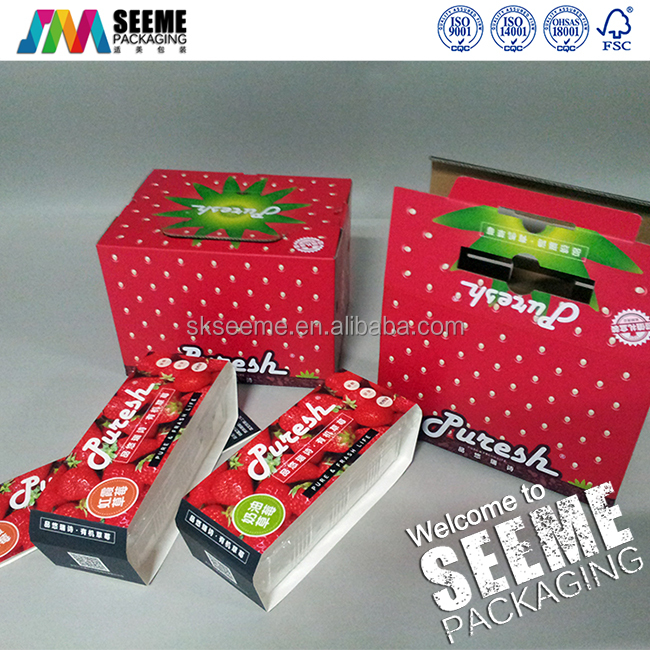Custom Printed Recycle Corrugated cardboard Fruit Strawberry Packing Carton box With Plastic Handle