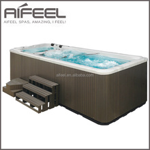 Freestanding Acrylic outdoor mobile whirlpool massage above ground swim spa hot tub