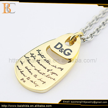 Floating Fine Engrave Pendant 2017 Latest Jewelery 14k Gold Necklace