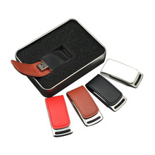 New design leather case can custom logo print thumb leather USB hard drive
