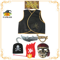 Fashion pirate kids halloween costume eye patch sword hook skull mask set