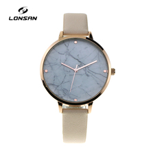 LF-3865 fashion luxury water resistant rose gold plating stainless steel buckle marble face dress women watch