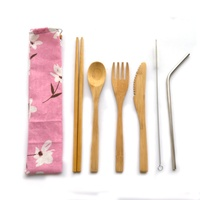 Portable bamboo travel cutlery set-- bamboo wooden knife fork spoon with stainless straw in slim bag