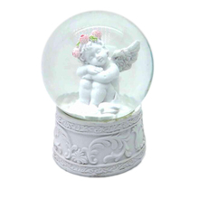 Wedding favors decorations white angel snow globes Cupid figurine snow globes