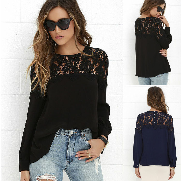 Women latest style blouse long sleeve blouse for women elegant lace blouse