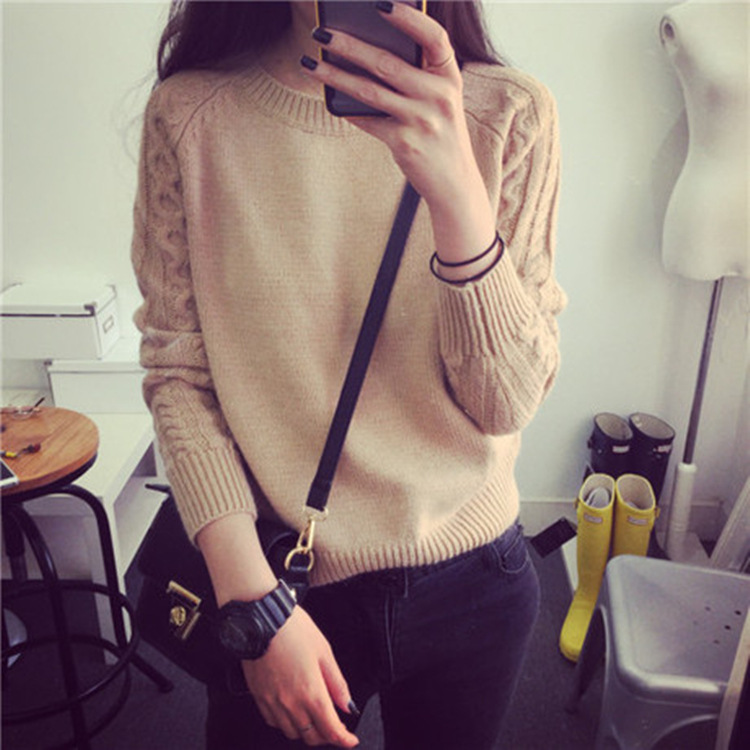 C88547A korean style knited sweater for girls's splice color sweater big size sweater