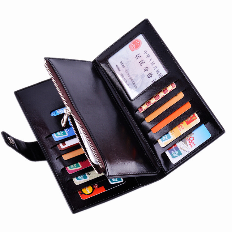 Customized Branded RFID Blocking Wax Oil Leather Women's Wallet