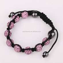 New trend fashion Disco Ball Shamballa infinity bracelet pink color wholesale price