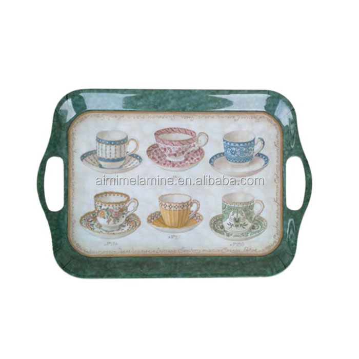 Melamine tray with handle, plastic tray, serving tray