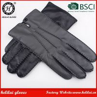 Fashion Men's Handmade Leather Gloves Helilai Factory Men Cheap Black Motorbike Wool Lined Leather Gloves