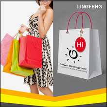 Popular Hand Printed Paper Bag luxury, Low Cost white Craft Paper Bags with Logo Print