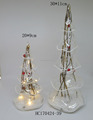 Hot selling Artificial lighted up glass cone tree for Christmas decorations