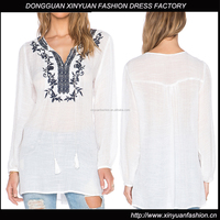 Long sleeve wallflower blouse neck embroidery design models for ladies blouses
