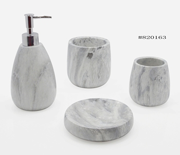 Suanti New Trendy Luxury Water Transfer Printing Marble Style Resin Bathroom Set for Home and Hotel