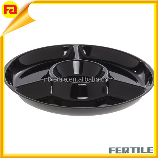 Oval Acrylic 4-section Acrylic Fruit Tray, Wholesale Black Acrylic Tray