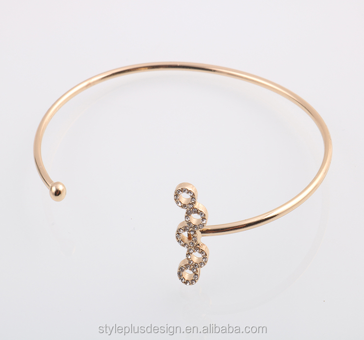 G71472I01 Ladies Earrings And Bangles Gold Copper Zinc Bracelets Various alloy number charms gold cuff bracelet model