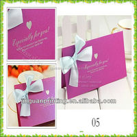 Beautiful foldable cards with bow/purple invitation wedding card