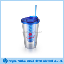Double wall plastic water tumbler with straw lid fruit infuser