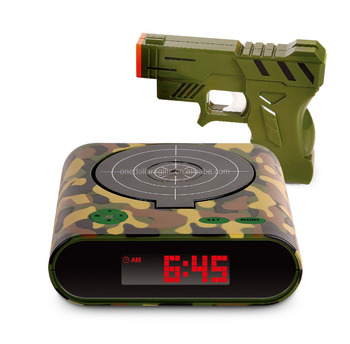 Gun Alarm Clock and Target Alarm Clock With Gun -- Camouflage